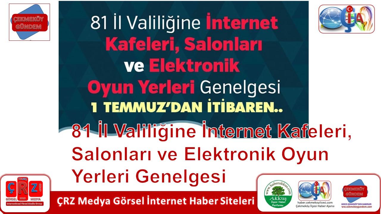 81 İL VALİLİĞİNE İNTERNET KAFELERİ, SALONLARI VE ELEKTRONİK OYUN YERLERİ GENELGESİ